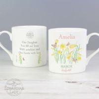 Personalised Country Diary 'March Flower Of The Month' Balmoral Mug - ideal birthday gift for her